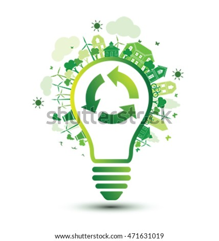 Green City And Recycle Logo With Light Bulb Eco Concept Vector Illustration