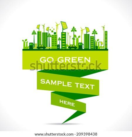 green city building or go green or save earth concept vector - stock vector