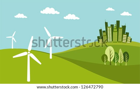 Green city concept - stock vector