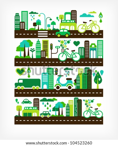 green city - environment and ecology - stock vector