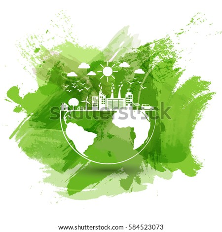 green city world eco friendly concept stock vector. Black Bedroom Furniture Sets. Home Design Ideas