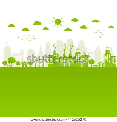 Green city save the world with ecology friendly concept,vector illustration - stock vector