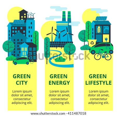 Green city set. Environmental protection, ecology concept vertical banners set. Vector illustration. Eco-city, green energy, lifstyle. Solar panels. - stock vector
