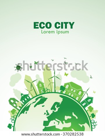 green city with green Eco Earth concept ,vector illustration - stock vector