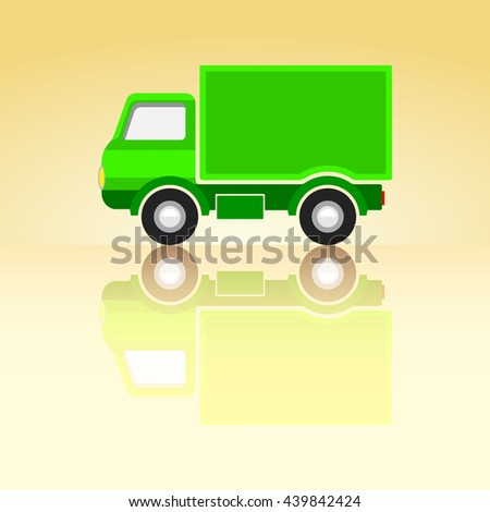 Green Classic Cargo Truck Icon on Summer Background