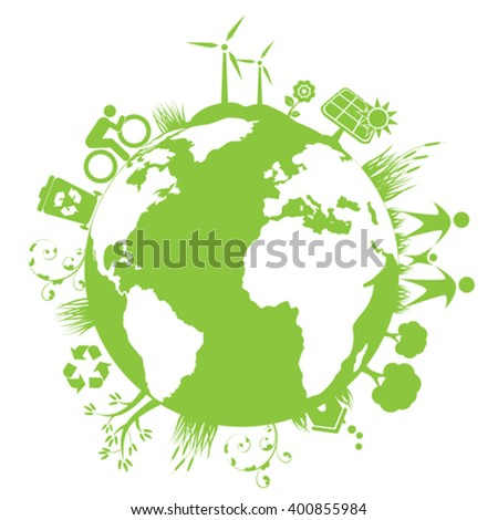 Green clean planet with eco elements