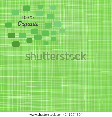 Green cloth texture background.  Book cover. Fabric bright ecological canvas wallpaper with delicate striped pattern.Vintage fabric texture - stock vector