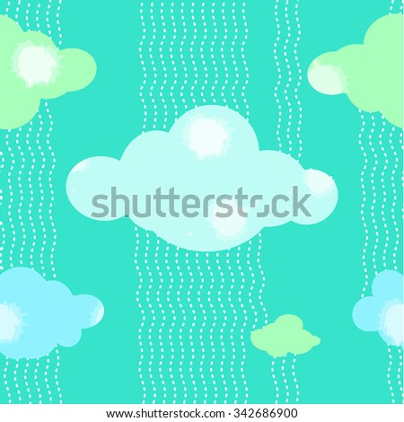Green Clouds Pattern Background Vector Illustration