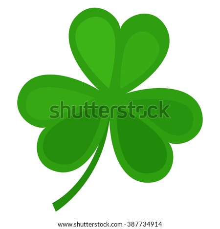 Green clover leaf isolated on white background. Vector illustration for nature background. Shamrock symbol icon. Irish sign. Ireland floral. Luck celtic design. St Patrick's Day holiday. - stock vector
