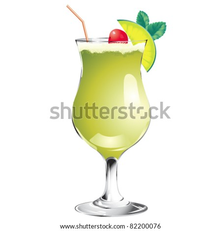 Green cocktail isolated on white - stock vector