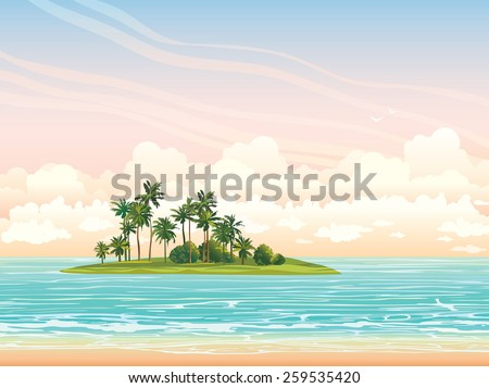 Green coconut island ans blue sea on a sunset sky with clouds. Vector tropical seascape illustration.  - stock vector
