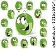 green coffee bean cartoon - stock photo