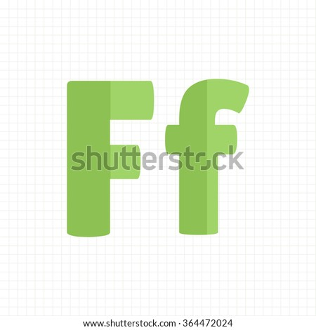 green color alphabet letters F - stock vector