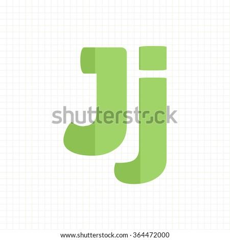green color alphabet letters J - stock vector