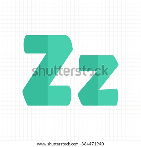 green color alphabet letters Z - stock vector