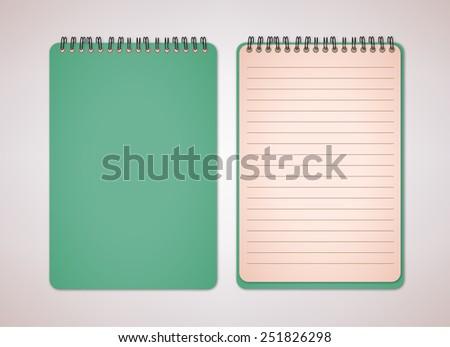 Green Color Blank Notebook Vector  - stock vector