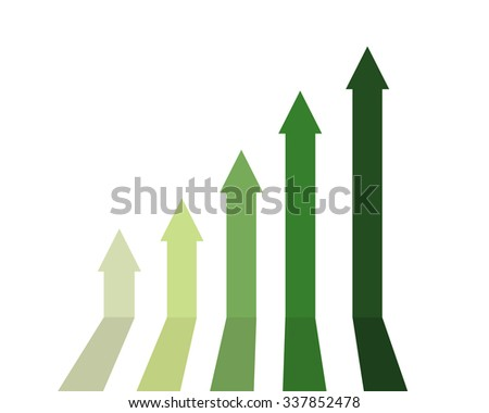 Green color of graph rising up, indicating positive vibes and direction in business aspects. - stock vector