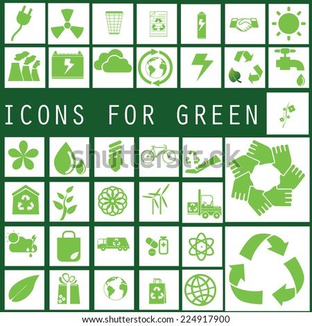 green color recycle icons on white square - stock vector