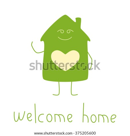 Green colored house character with window in the shape of heart isolated on white background and lettering welcome home. Housewarming party invitation template. Flat style illustration - stock vector