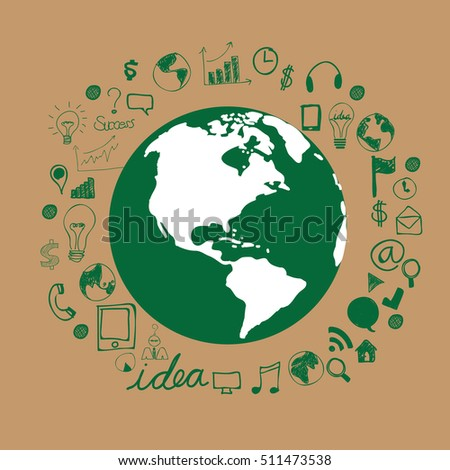 Green Concept Infographic.save world vector illustration.