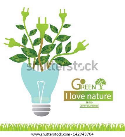 Green concepts save energy. save world. vector illustration. - stock vector