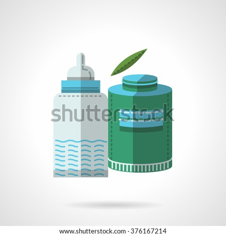 Green container with milk powder or milk formula and bottle. Baby food. Organic menu. Vector icon flat color style. Web design element for site, mobile and business. - stock vector