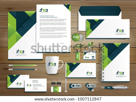 Items green corporate identity business template design vector abstract stationery gift items color promotional souvenirs elements negle Images