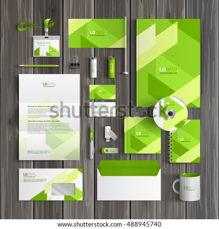 Green corporate identity template design with diagonal shapes. Business stationery