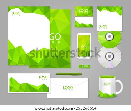 Green corporate identity template with polygons