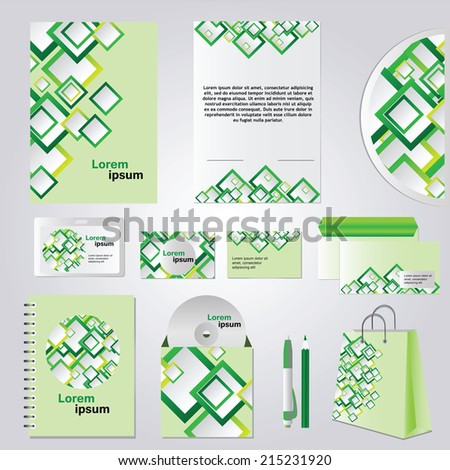Green corporate style - Corporate Identity set - vector - stock vector