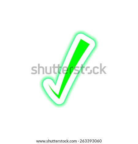 Green correct symbol icon on a white button with shadow  - stock vector