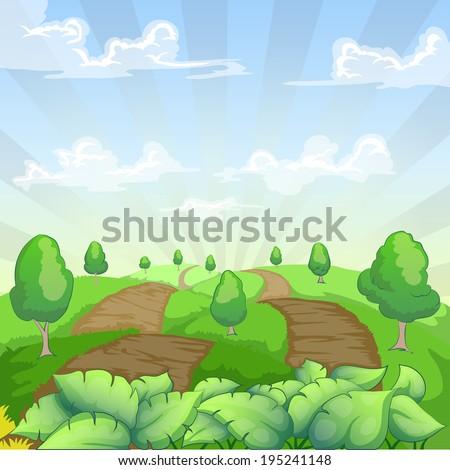 green country landscape cartoon illustration - stock vector