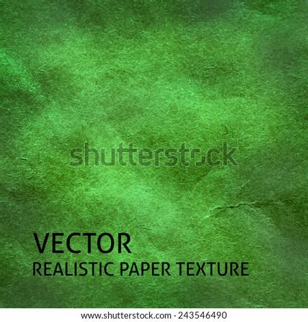 Green craft paper vector background. Grunge paper texture. - stock vector