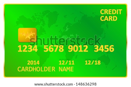 Green Credit Card - stock vector