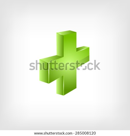Green cross. Vector - stock vector