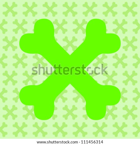 Green Crossbones - stock vector