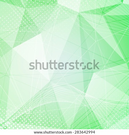 Green crystal pattern dot hi-tech background abstract modern layout with swoosh wave lines. Vector illustration - stock vector