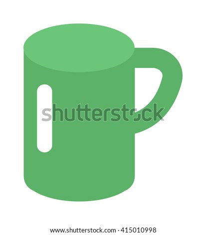 Green cup isolated on white. Green cup vector and green coffee cup. Green cup hot breakfast espresso and morning kitchen ceramic green cup. Green cup object caffeine food cappuccino liquid. - stock vector