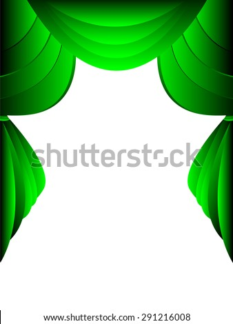 green curtain on white background - stock vector