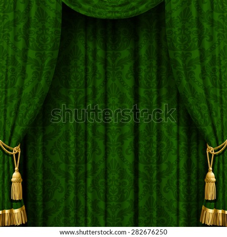 Green curtain with Baroque ornament. Square indoor background. Vector Illustration - stock vector