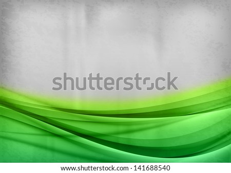 green curves on the grey background - stock vector