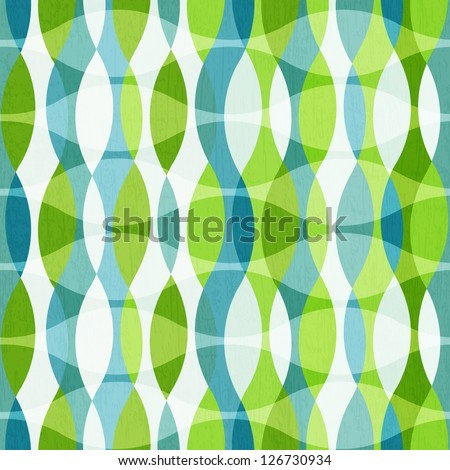 green curves seamless pattern with grunge effect - stock vector