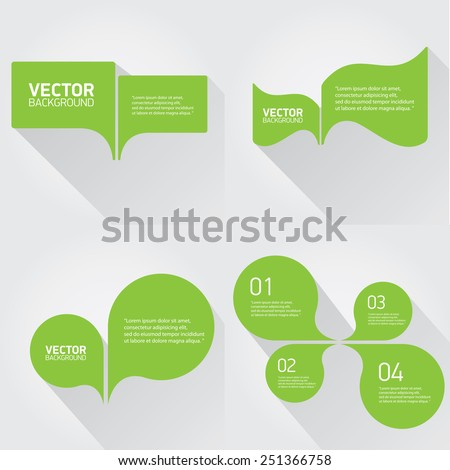green cut paper speech bubbles on white. speech bubbles set. vector illustration - stock vector