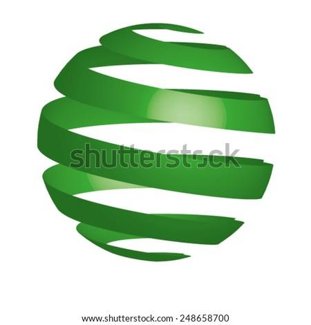 Green 3d circle - stock vector