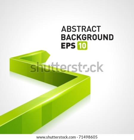Green 3d graph arrow move up vector background