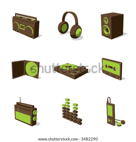 green 3D icon set 07 - stock vector