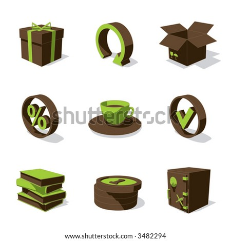 green 3D icon set 04 - stock vector