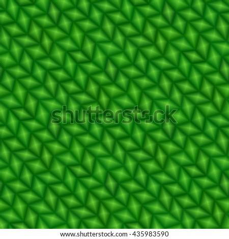 Green 3d triangle tiles - seamless vector pattern - stock vector