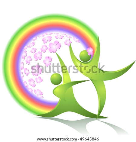Green dancers with flowers and rainbow - stock vector