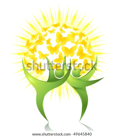 Green dancers with sun and butterflies - stock vector